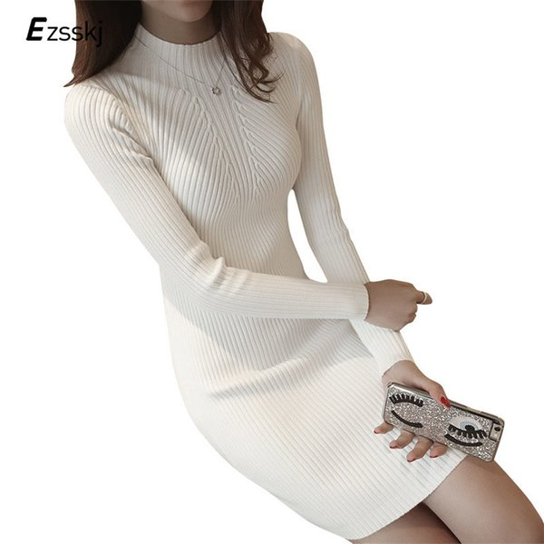 White Winter Women Warm Sweater Dresses Soft Long Sleeve Slim Bodycon Warm Casual Dress Sexy Mini Knitted Autumn Dress J190601
