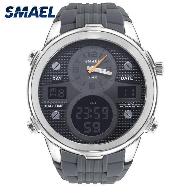 SMAEL Silicone  Watch Men Waterproof Dual Time Display Mens Sport Wristwatch Digital Analog Quartz Watches Male Clock