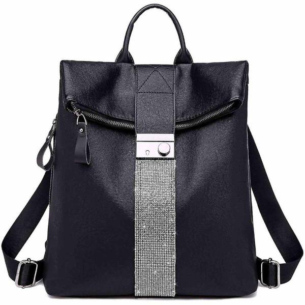 AUAU-zaino borsa per le donne Fashion School PU borsa in pelle e borse a tracolla Hangbags, 1-Black