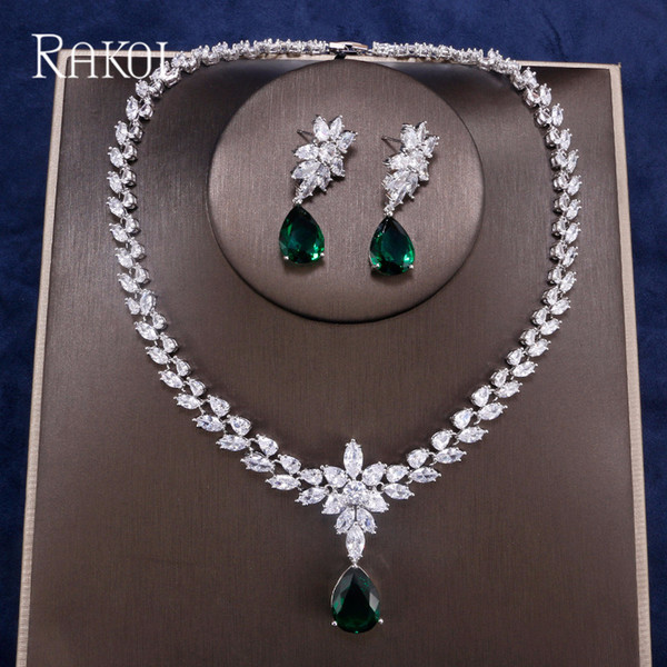 RAKOL Fashion Luxury Water Drops CZ Crystal Doble-layers Zircon Marquise Wedding Necklace Earrings Jewelry Set For Women Party