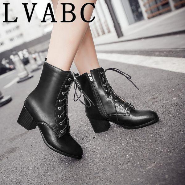 LVABC New Women Martin boots 2018 Winter Warm Botas Feminina Female Motorcycle Ankle Boots Fashion Women Plus size 34-45