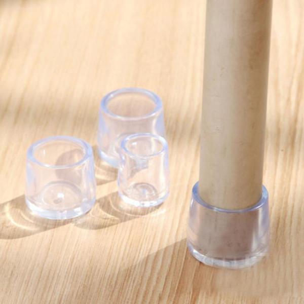 8pcs Furniture Table Chair Leg Floor Feet Cap Cover Protector Transparent 5 Sizes