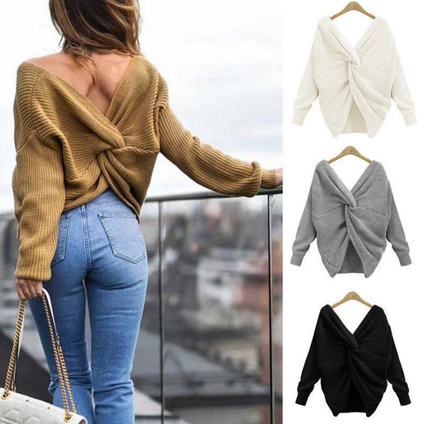 7 Colors V-neck Twisted Sweater Women's Autumn Pullovers Casual Lady Tops Long Sleeves Knit Sweaters Women Clothing MMA1286