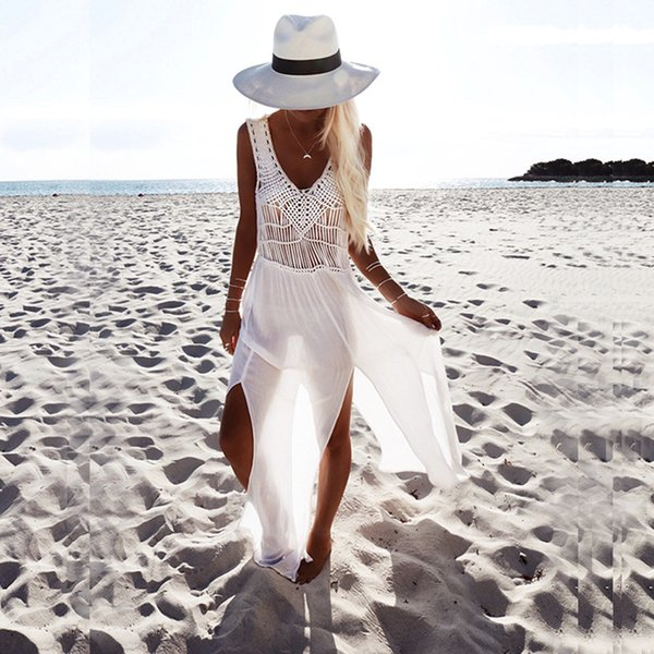 Sexy copertura spiaggia bianca fino bikini sexy donne dello swimwear spiaggia del vestito da estate del pannello esterno uncinetto gonna vestito di bagno del costume da bagno estate ragazze