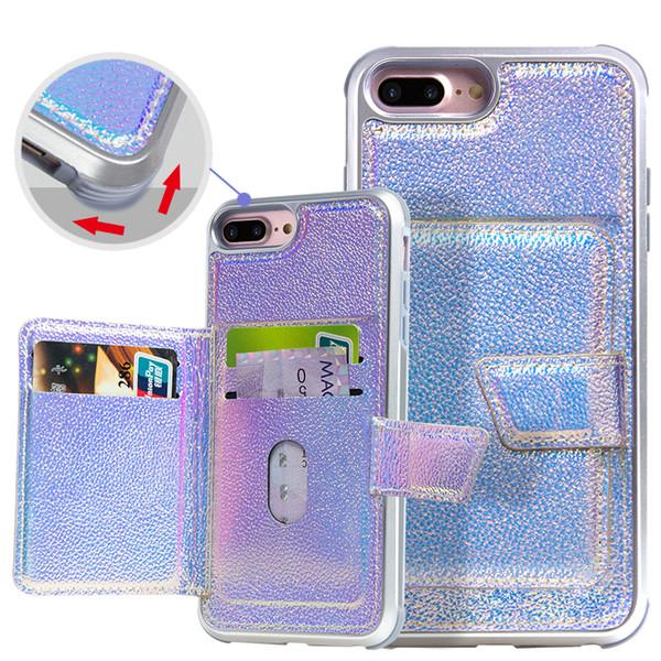 Housse en cuir Hybird 2 en 1 PU pour iPhone 6 7 8 plus la couverture antichoc du portefeuille xr max avec fentes pour cartes de crédit
