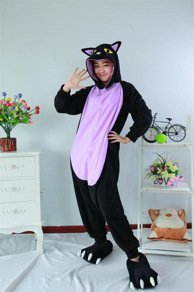 Minuit Chat Grenouillère Pyjama Halloween Costume Cosplay Homewear Lounge Wear