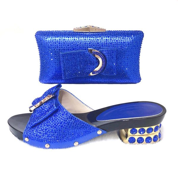 Royal blue rhinestones shinning 2 inches slippers shoes with matching bag 2019 newest fashion shoes and bags bag SB8374-5