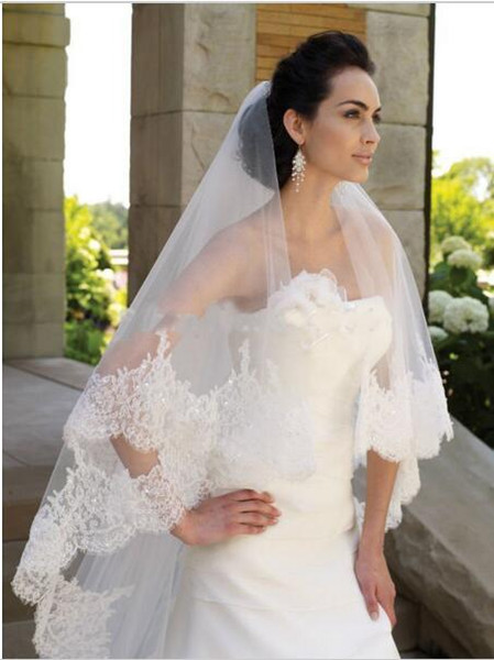 Shiny Two Layers Lace Bride Veil with Comb Applique Edge 2 Meters Long Wedding Bride Veil