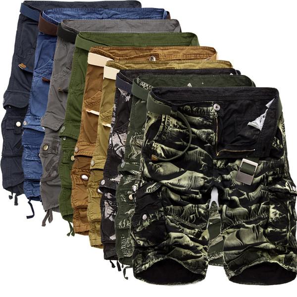 Mens Military 2017 Summer Camouflage Cargo Shorts Men Cotton Loose Casual Short Pants No Belt J190628