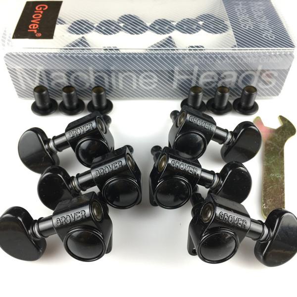 Sintonizadores de cabeças de máquinas Grover Guitar 1Set 3R-3L Pegs de ajuste preto (com embalagem)