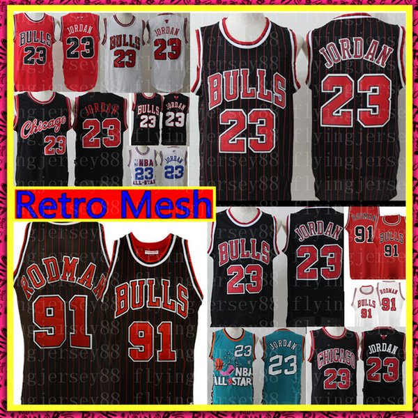 NCAA Retro Michael Jersey High School Dennis # Rodman Scottie Pippen # Basketball Jerseys Stickerei Logos Retro Mesh-S-XXL