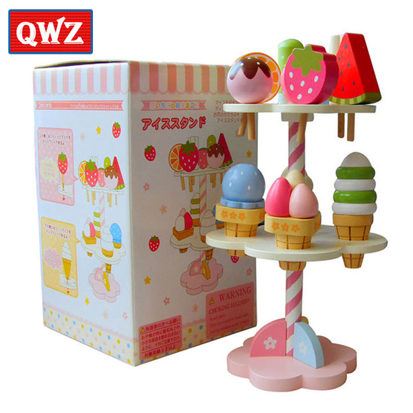 top popular QWZ Baby Toys Simulation Magnetic Ice Cream Wooden Toys Pretend Play Kitchen Food Baby Infant Toys Food Birthday Christmas Gift Y200428 2021