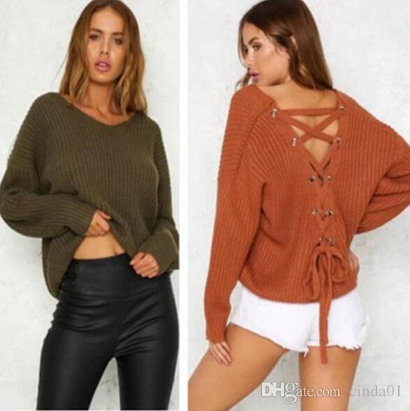 Мода осень Женщина Sexy бинты Дизайн свитер V-образный вырез Назад впадины длинного рукав Толстовка Топы Пуловеры