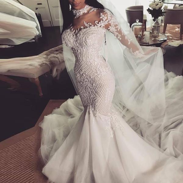 Alta Neck Mangas Compridas Frisado Vestidos de Noiva Vestido de Noiva Apliques de Rendas Pérolas Tule Saia Maternidade Grávida Vestidos