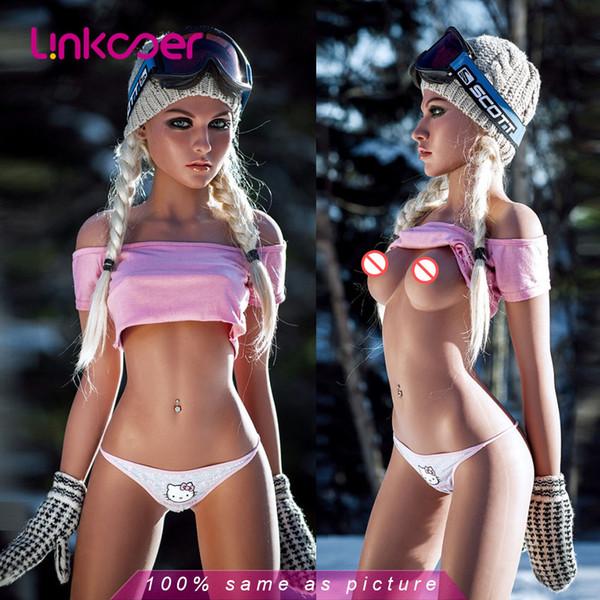 Linkooer Nuevo 158cm Estilo europeo Pequeño pecho Muñeca sexual realista Vagina realista Muñecas de amor oral 3 agujeros Vagina Coño real Juguetes sexuales