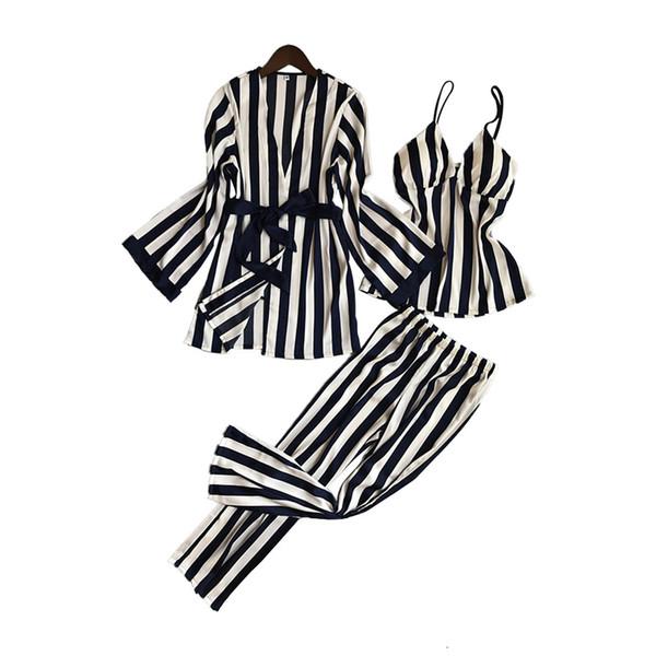 Lisacmvpnel 3 Pcs Striped Sexy Women Pajama Sets Nightdress+Robe+Pant Female Pajamas T190917