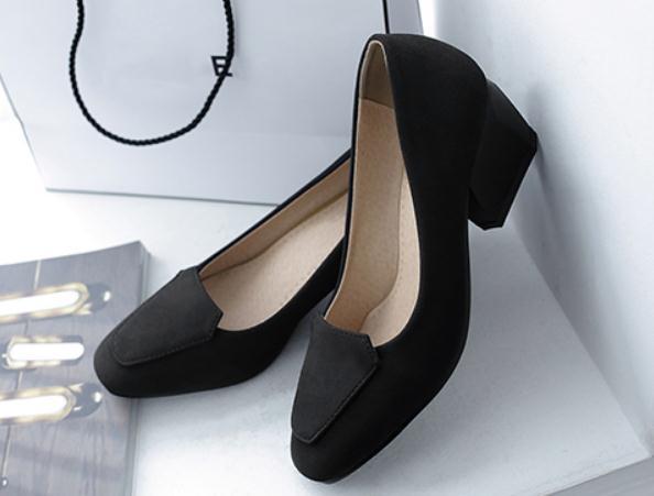 2018 замша женская обувь весной и осенью с новым стилем средний каблук грубый каблук квадратная головка