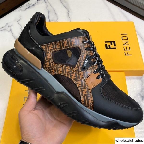 İtalyan Moda Lüks Tasarımcı Ayakkabı Erkek Çok renkli Deri Kasetli Chunky Sole Sneaker Man Fantezi Monogram Runner Sneakers Box Düşük başında yer alıyor