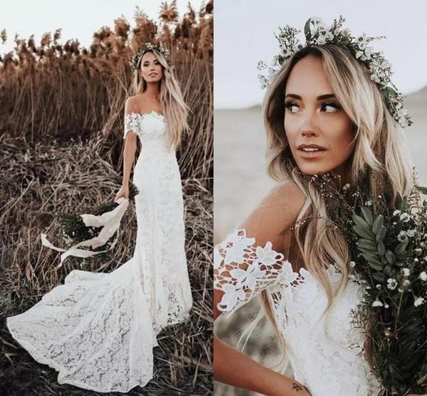 Elegante Boho Rendas Vestidos De Casamento 2019 Estilo Country Fora Do Ombro Mangas Curtas Vestidos De Noiva Vestidos De Casamento De Praia Vestido De Novia