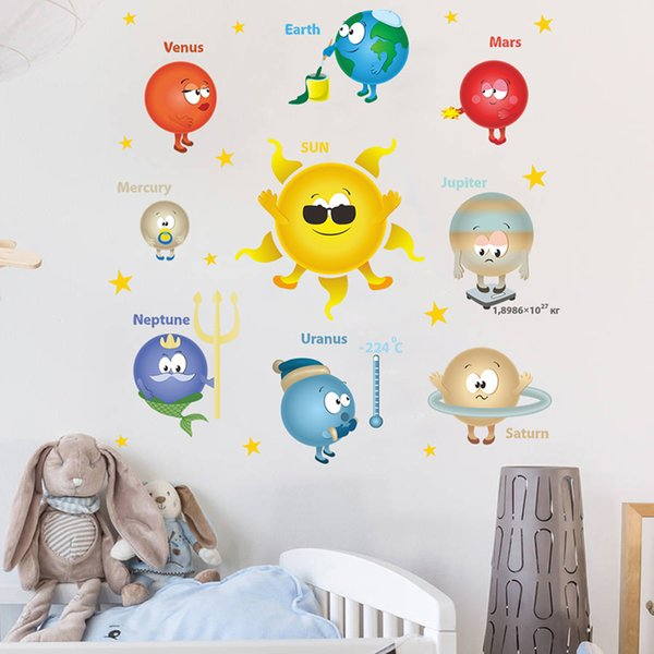 Outer Space Planets Solar System Wall Stickers For Classroom Kids Room Home Decoration PVC Nursery Mural Art Wall Decal