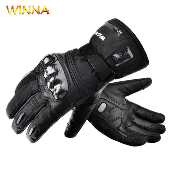 Luvas 2200mAh elétrico aquecido pele de carneiro luvas térmicas impermeáveis Mãos mais quentes para o inverno Homens Mulheres Outdoor Sports Grosso