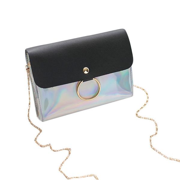 Cheap FashionDropshipping Fashion Leather Small Flap Women Bag Chain Messenger Shoulder Bag Lady Female Sequins Cover Handbag #35C