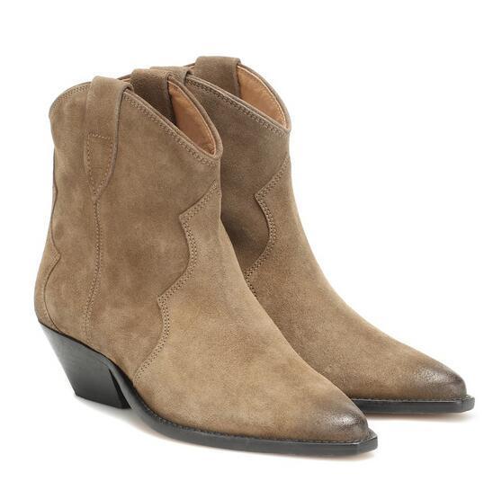 Nova Versão Perfeita Isabel Dewina Camurça Ankle Boots Moda Paris Marant Ocidental Cowboy Calçado Botas Sapatos