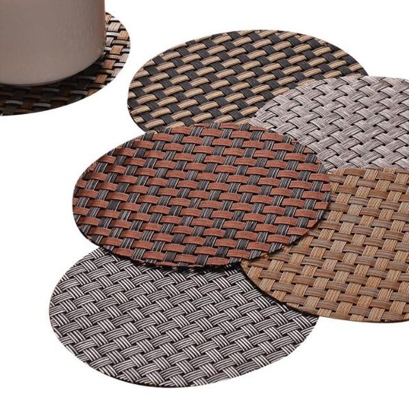 DHL 11cm PVC coasters woven coasters round table placemats western restaurant antiskid and heat insulation coasters cup mat