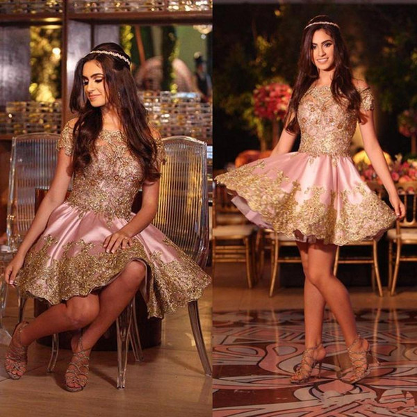 Cute Pink Mini Short Homecoming Dresses Gold Applique Lace Off Shoulder Cocktail Party Gowns Simple Cheap Arabic Prom Dress