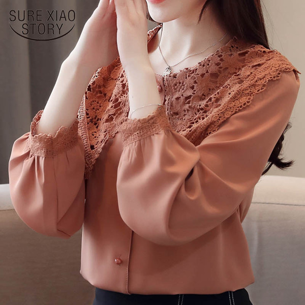 Round neck women lace chiffon 2019 spring new clothing long sleeve Lady Puff Sleeve Women Fashion Chiffon blouse top 2443 50