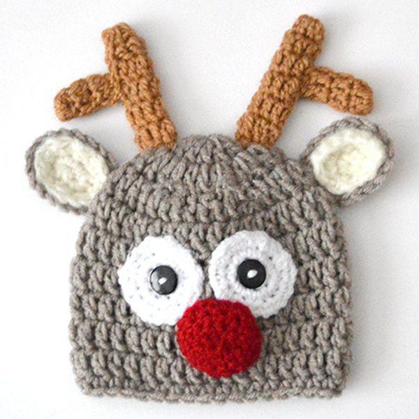 Handmade Crochet Baby Girl Boy Rudolf Reindeer Beanie,Santa Moose Hat,Animal Cap with Ears,Infant Christmas Hat,Newborn Toddler Photo Prop