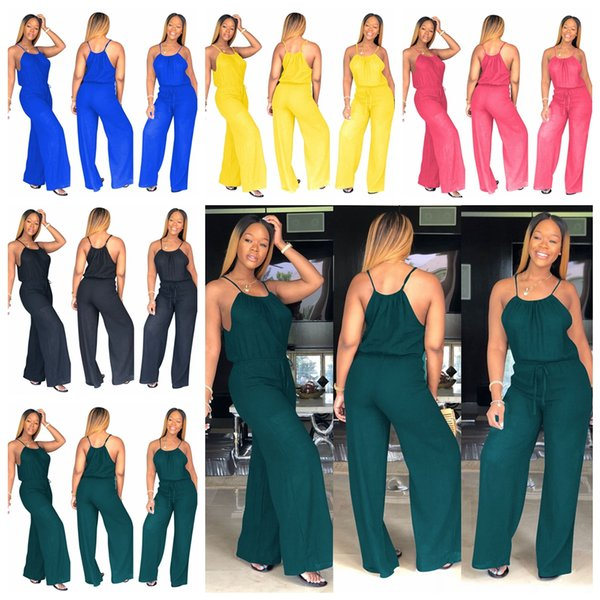 top popular Women Sleevless Wide Leg Pants Club Jumpsuit Sexy Casual Loose solid Playsuit Party Ladies Rompers Outfit AAA1996 2020