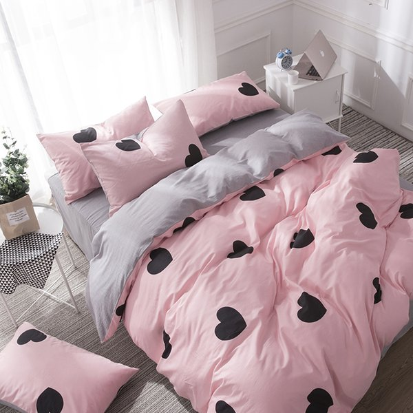 Großhandel Bettdecken Und Bettwäsche Sets Schöne Bettwäsche Grau Bettlaken Baumwolle King Size Bettwäsche Set Queen Size Bettbezug Set Herz Bett