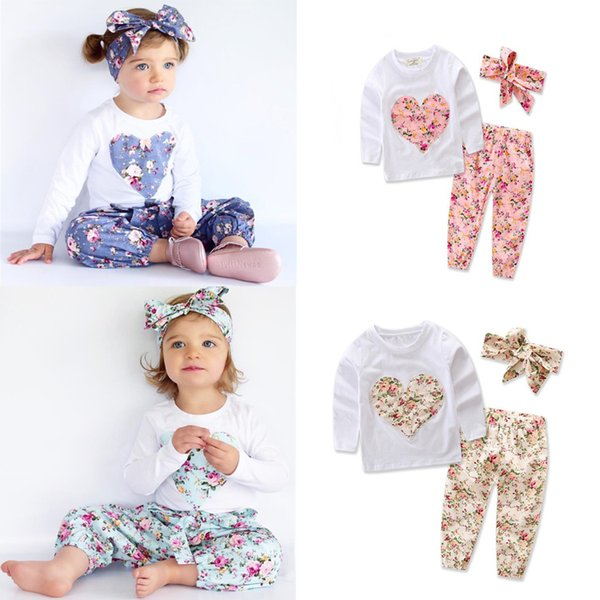 4 colors T-shirt+Trousers+Hair band 3 Piece Sets kids clothes long Sleeve heart-shaped T-shirt kids designer clothes girls DHL JY196