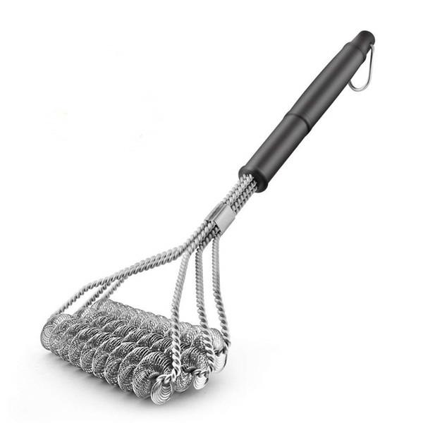 Spazzola per pulizia barbecue grill in acciaio inossidabile Spazzola per pulizie a molla a tre fili con manico durevole Spazzola antiaderente Spazzola per barbecue DBC VT0386
