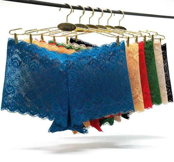 100pcs/lot Boxer Woman Panties Seamless Lace See Through Lady Silk Boxers Shorts Solid Girls Panties Boyshort Knickers