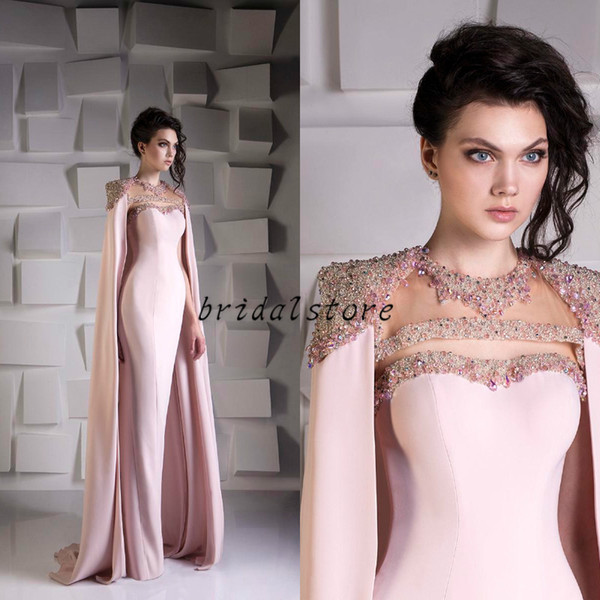 Detailed Mermaid Prom Dresses With Cape Luxury Bead Crystal Sequined Satin Formal Evening Dress wear Jewel Plus Size Arabic Dubai Wrap Gowns