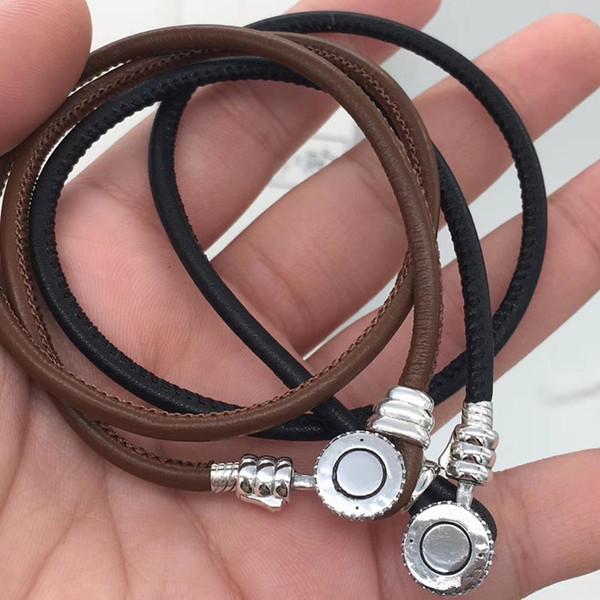 2018 лето новые MOMENTS черные или коричневые кожаные браслеты для рук приспосабливать 925 стерлингового серебра прелести ювелирных изделий шариков DIY для женщин BR068