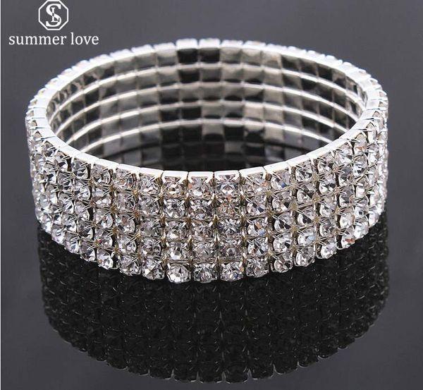 best selling Elegant Bride Shining Rhinestone Silver Color Wedding Bracelet for Women Stretch Crystal Stackable Bracelet Fashion Jewelry Gift 2019