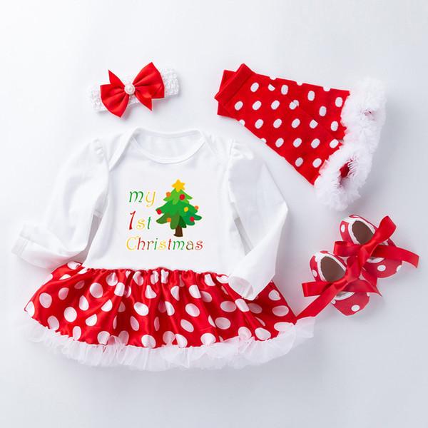 New Dresses For Baby Girls Christmas Tree Pattern Princess Dress Dot Print Casual Tutu Dress Set verkleedkleding kinderen