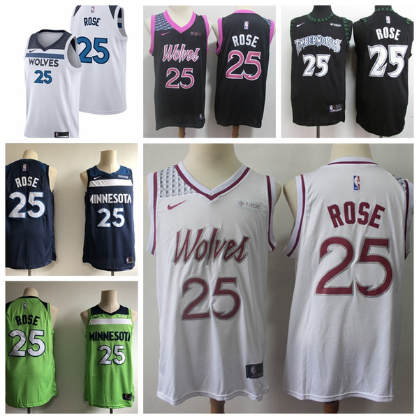 info for 9ad98 26022 2019 2019 New City Edition 25 Derrick Rose Timberwolves Basketball Jerseys  Stitched White Blue Black Derrick Rose Timberwolves Basketball Shorts From  ...