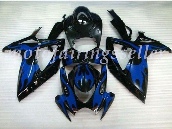 Nuevos carenados ABS plástico Fit Kit para Suzuki GSXR600 GSXR750 GSXR600 K6 R750 2006 2007 Moldeo por inyección Blaze Azul