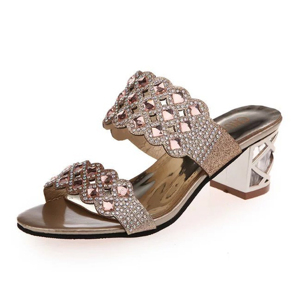 2019 European and American new summer diamond sandals, comfortable heels, open toe sandals and women's shoes