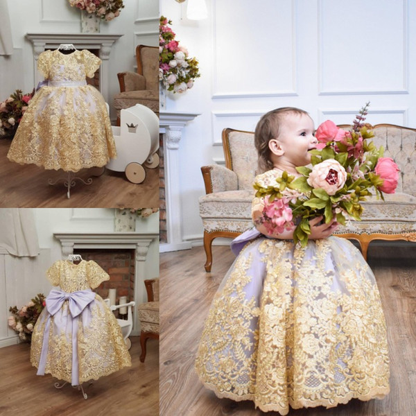 Gold Lace Ball Gown Flower Girl Dresses For Wedding Short Sleeves Girls Pageant Gowns With Big Bow Baby Birthday Party Dress 2019
