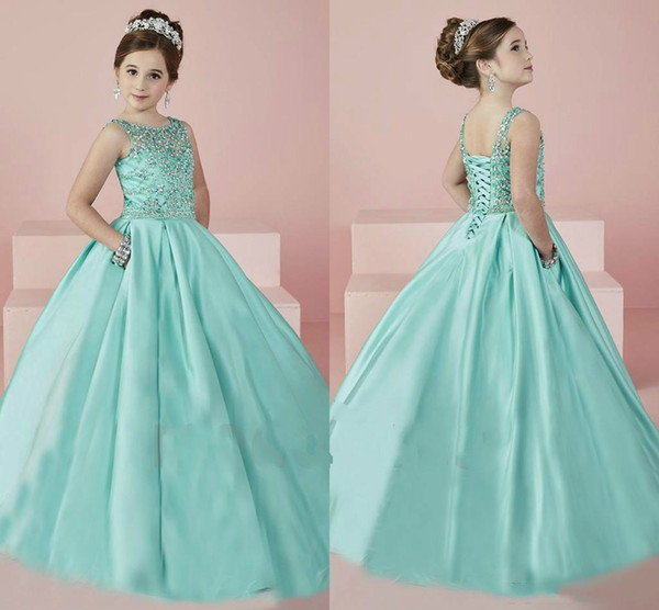 Bling Beads Girls Pageant Dresses Mint Green Sequins Tulle Crystal Flower Girl Dress Ball Gown Girls Formal Tutu Party Dress for Teens Kids