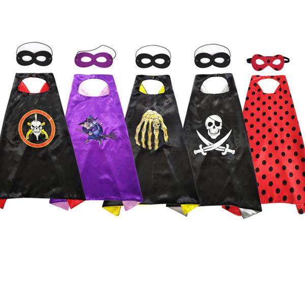 La maschera dei mantelli di Halloween imposta i costumi cosplay cartone animato teschio pirata animazione eroe mantello Bambini Divertente mantello di Halloween Maschera LJJA2770