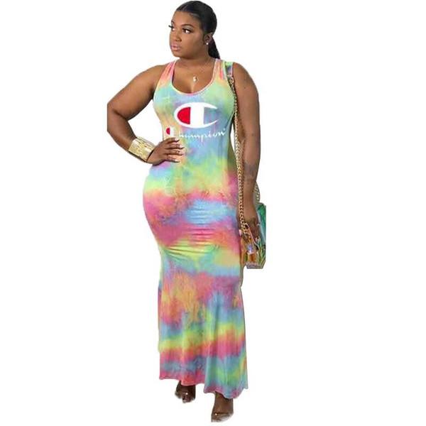 Champions Letter Women Gradient Ramp long dress tie-dyed designer slip dresses Skirt low Back maxiskit Skirt party Commuter dress hot B5163