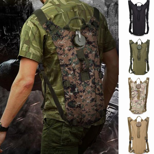 top popular 3L Water Bag Molle Tactical Hydration Backpack Outdoor Camping Water Bag Cycling Camouflage Bag 11 Colors ZZA514 2019