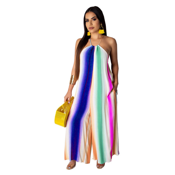 Jumpsuit women's fashion explosion models Europe and the United States 19 fashion summer casual wide neck wide leg jumpsuit