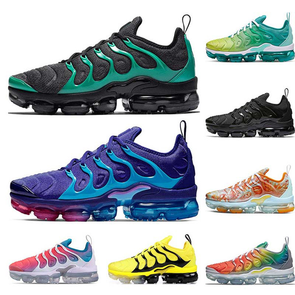 Großhandel Nike Air Vapormax Plus Neue Laufschuhe Für Herren PURE PLATINUM Rainbow Red China Work Bule Pink Sea Volt Weiß Schwarz Damen Sport Sneaker